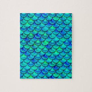 Escalas del azul de la aguamarina de Falln Puzzle