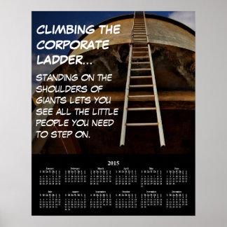 Escalera corporativa 2015 del calendario de póster