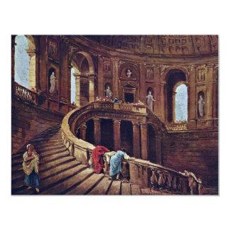 Escalera en el castillo de Caprarola por el eje de Invitación 10,8 X 13,9 Cm