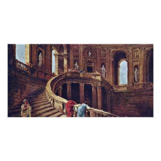 Escalera en el castillo de Caprarola por el eje de Tarjetas Fotograficas
