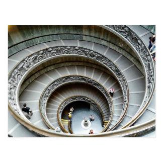 Escalera espiral, museo de Vatican, postal