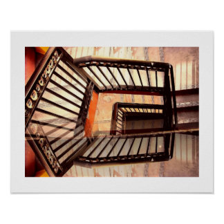Escaleras de la ilusión óptica póster