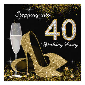 Escalonamiento en fiesta de cumpleaños 40 invitación 13,3 cm x 13,3cm