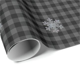 Escama gris de la nieve de la tela escocesa del papel de regalo