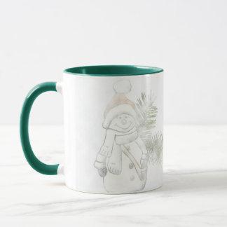 Escarchado el muñeco de nieve que dice la taza