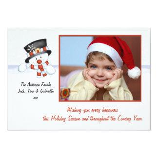 Escarchado el muñeco de nieve - tarjeta del día de anuncio personalizado