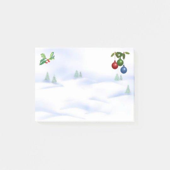 Escena, acebo, bayas y chucherías de la nieve notas post-it®