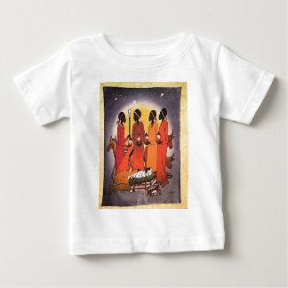 Escena africana de la natividad del navidad camiseta de bebé