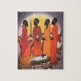 Escena africana de la natividad del navidad puzzle