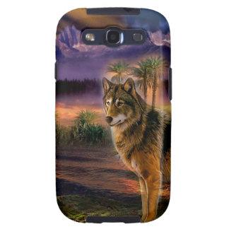 Escena animal abstracta del lobo samsung galaxy s3 carcasas