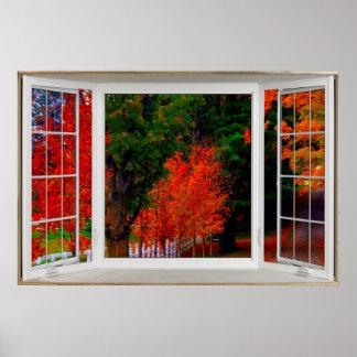 Escena blanca del otoño de la ilusión de la póster