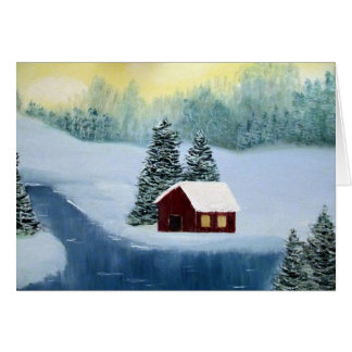 Escena congelada cabina del paisaje del río de la tarjeta de felicitación