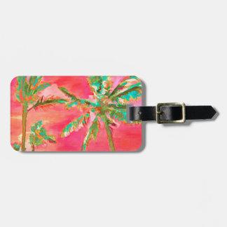Escena/coral hawaianos de la playa del vintage de etiqueta para maletas