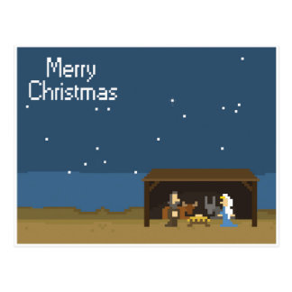 escena de 8 bits de la natividad del navidad postal