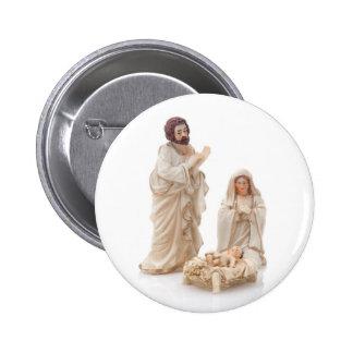 Escena de cerámica de la natividad chapa redonda de 5 cm