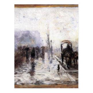 Escena de la calle con el carro de T.C. Steele Postal