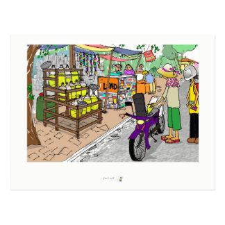Escena de la calle de la postal en Asia con la