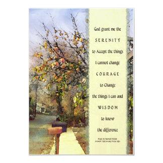 Escena de la calle del rezo de la serenidad invitación 12,7 x 17,8 cm