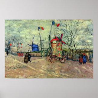 Escena de la calle en Montmartre Le Moulin À Poivr Impresiones