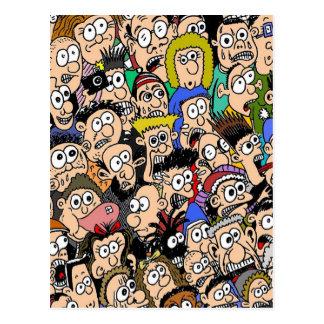 Escena de la muchedumbre del color del dibujo anim postales