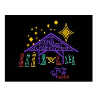 Escena de la natividad - 9:6 de Isaías - 7 navidad Postal