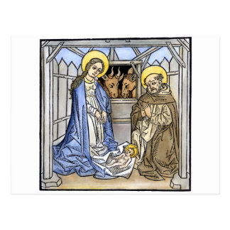 Escena de la natividad de un evangelio iluminado postal
