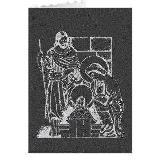 Escena de la natividad del gris y del blanco de tarjeta de felicitación
