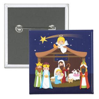 Escena de la natividad del navidad chapa cuadrada