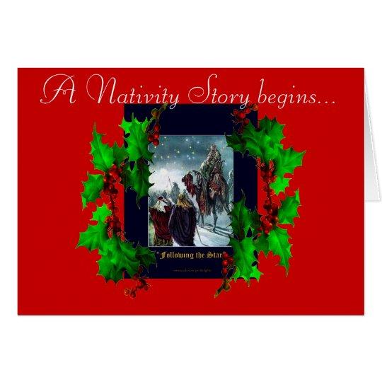 Escena de la natividad y tarjeta de Navidad de las