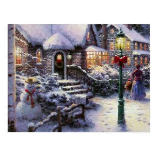 Escena de la nieve de la cabaña del navidad del postal