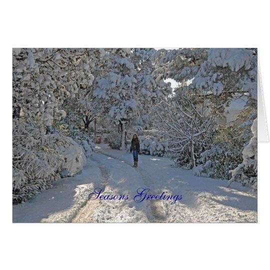 Escena de la nieve de la tarjeta de Navidad