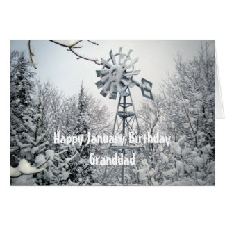 Escena de la nieve del Cumpleaños-molino de viento Tarjeta