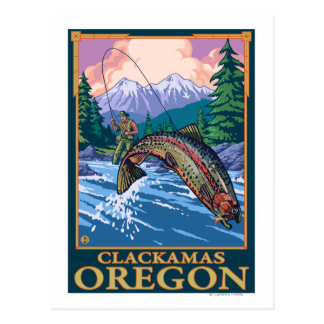 Escena de la pesca con mosca - Clackamas, Oregon Postal