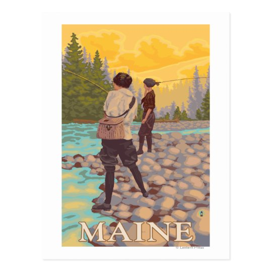 Escena de la pesca con mosca de MaineWomen Postal