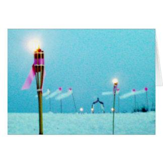 Escena de la playa del franqueo del boda tarjeta de felicitación