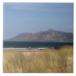 Escena de la playa del verano azulejo cuadrado grande