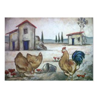 Escena de la Pollo-Granja Invitación 12,7 X 17,8 Cm