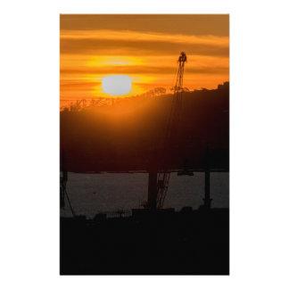 Escena de la puesta del sol de la visión aérea de papeleria personalizada