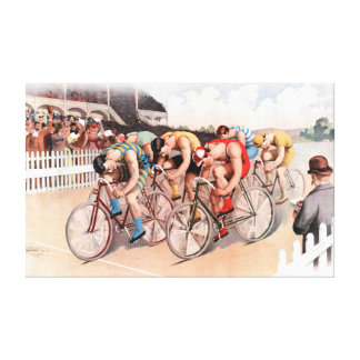 Escena de la raza de bicicleta del vintage lienzo