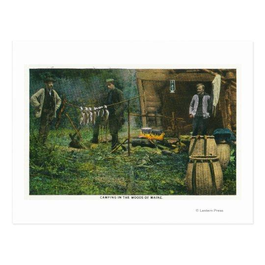 Escena de la tierra de campo de los hombres que postal