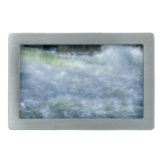 Escena de precipitación de la naturaleza del río d hebilla de cinturon rectangular
