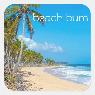 Escena de relajación de la playa, texto del vago pegatina cuadrada