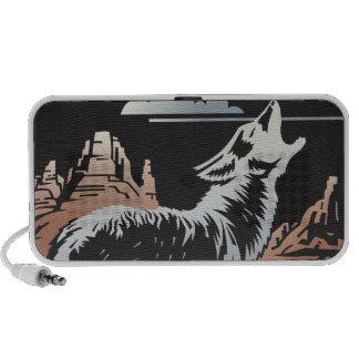 escena del coyote del lobo del grito laptop altavoces