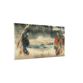 escena del invierno - arte del japonés del vintage