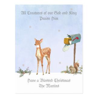 Escena del invierno con la tarjeta religiosa de postal