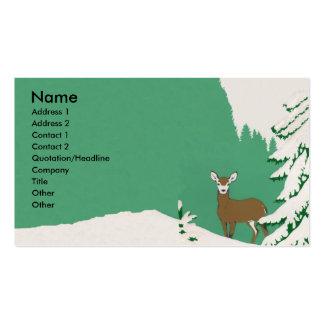 Escena del invierno de la nieve de los ciervos tarjetas de visita