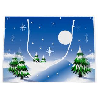 Escena del invierno en bolso del regalo bolsa de regalo grande