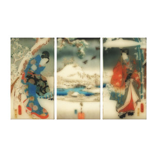 escena del invierno - tríptico japonés del arte