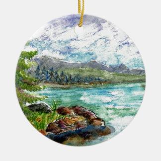 Escena del lago - lápiz de la acuarela adorno redondo de cerámica