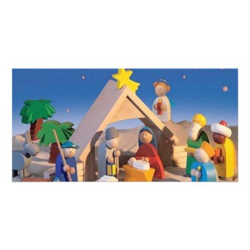 Escena del pesebre del navidad tarjetas fotograficas